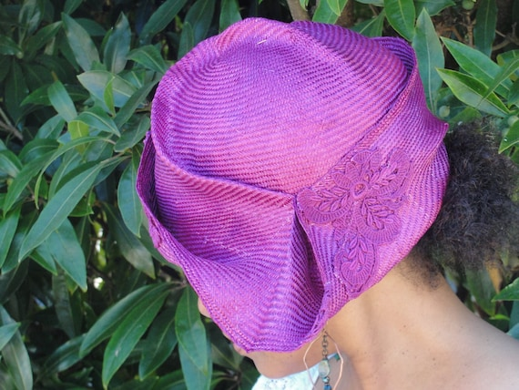 Summer Straw-Fuchsia Hat- New Hand Blocked-1920's Flapper-Vintage Look- Asymmetrical Lace Trimmed Hat