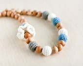 Nursing necklace/Teething necklace - 100% certified organic cotton - boho chic crochet necklace - blue, grey and milk white