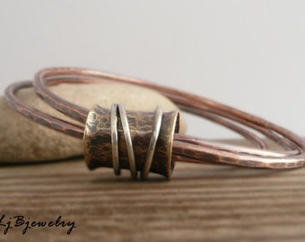 Copper Bangle, Mixed Metal Bangle, Stacking Bangle, Triple Bangle,Copper, Brass, Sterling Silver, Metalsmith Jewelry, Handmade