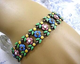 Bernard Instone Silver Bracelet Enamel Flowers Marcasite 1920s
