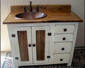 "Rustic Farmhouse Vanity - Copper Sink - 42"" - Bathroom Vanity - Bathroom Vanity with Sink -  Rustic Vanity -  Farmhouse Vanity - FH1296-42L"