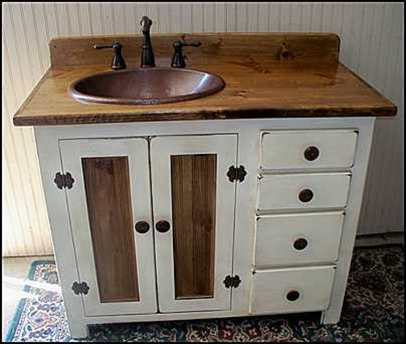 "Rustic Farmhouse Vanity - Copper Sink - 42"" - Bathroom Vanity - Bathroom Vanity with Sink -  Rustic Vanity -  Farmhouse Vanity - FH1296-42L"