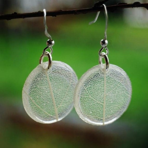 White Leaf Earrings Pressed Leaf Veins Tiny Resin Jewelry Transparent  Dangle Cute