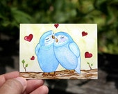"SALE - Going Out of Business - ACEO/ATC Artist Trading Card - ""Owls In Love"" - 3.5"" x 2.5"" Mini Art Print"