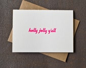 Holly Jolly Y'all Letterpress Holiday Card - Neon Pink modern minimal southern