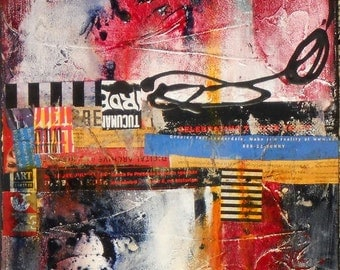 SALE Abstract Acrylic Collage Painting, Mixed Medium on Canvas, Original Wall Art,  Titled:  URBAN DECAY 3, 12 x 24