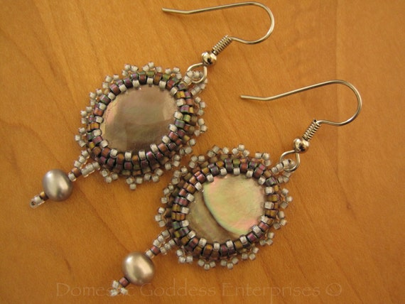 Bead Embroidered Mother of Pearl Earrings