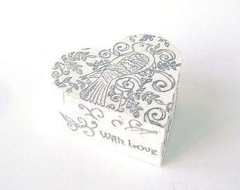 White Silver Bird Ring Bearer, Ring Bearer Box, Wedding  Pillow box, Pillow Alternative, proposal , vintage wooden box,With Love