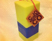 Square Soy Pilar Candle, Lime Green and Blue, Scented Himalayan Bamboo