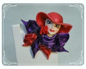 Red Hat Lady  Brooch - Vintage Woman's Face-Pin-1765a-120312000