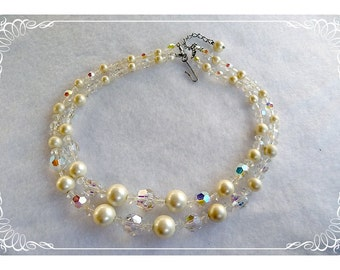 White Pearl & Crystal Bead Necklace - Double Strand -   1369ag-040810000