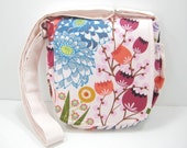 Messenger Bag, Cross Body Bag, Small Satchel, Modern Tropical Floral Print, Made to Order