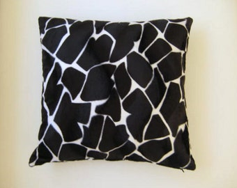 """Black Pillow Cover - Polyester Velvet Black and White Pillow Cover with Animal Print - 18x18"""" - Gift for Her, for Mom - Ready to Ship Decor"""