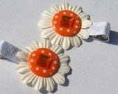 white and orange daisy clippies- polka dot flower clips- kids accessories