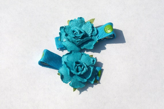 blue rose clippies- summer hair accessories