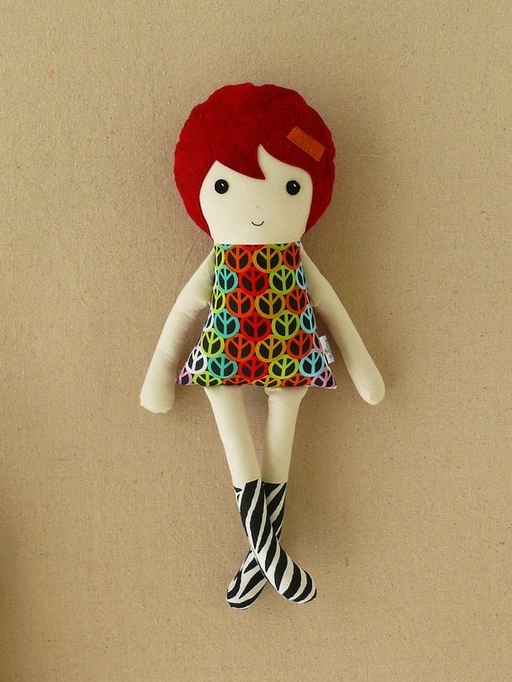 Fabric Doll Rag Doll in Peace Sign Dress with Red Hair and Zebra Boots