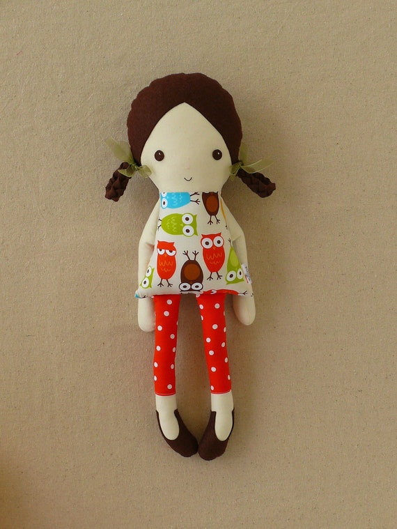 Fabric Doll Rag Doll with Owl Print Dress