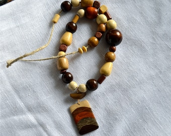 OOAK Natural Wood Beaded Necklace with Layered Wood Drop
