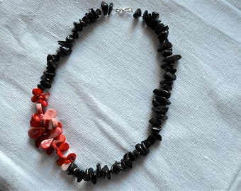Fluttering Hearts Asymmetrical Black Stone Chip and Coral Beaded Necklace