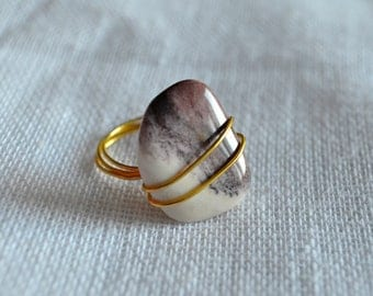 OOAK Gold Wire Wrapped Moonkalite Ring