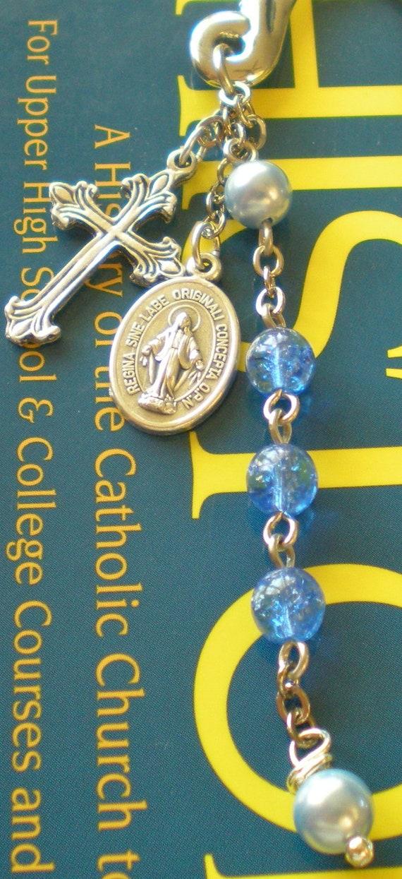 Blue Beaded Metal Rosary Bookmarker