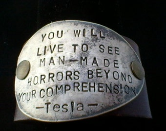 Tesla quote-upcycled leather cuff-hand stamped silverware jewelry
