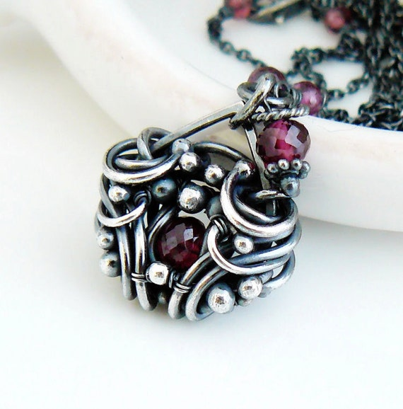 Cyber Monday Etsy - OOAK Wire wrapped garnet necklace - Wire wrap jewelry - Garnet jewelry