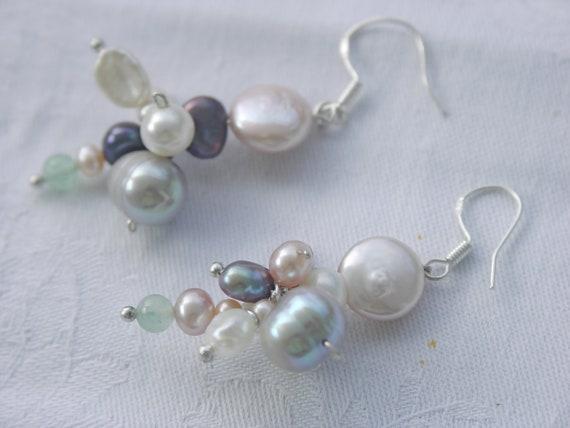 Pearl earrings dangle Freshwaterpearls Sterling Silver Jade Keshi pastell colours