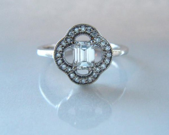 Emerald Cut Diamond Engagement Ring Halo 14K White Gold
