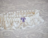 Ivory Lace Bridal Garter, Garter Set, Custom Initials, Purple, Violet, Gar