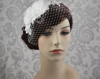 Birdcage Veil Handmade Silk Flowers and Lace, Bird Cage Veil Bridal Headpiece, Detachable Veil, Bridal Hair Flowers, White, Ivory - 112BC