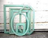 Set of 5 PICTURE FRAME COLLECTION - Large Mixed set of Rustic Antique Vintage Picture Frames Oval  and Hexagon