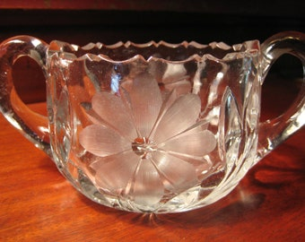Vintage PRESSED and ETCHED GLASS Sugar Bowl Double Handled