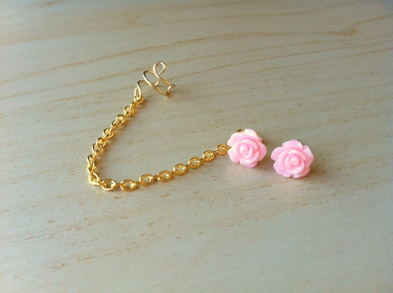 Pale rose pink resin mini rose bud ear stud with gold ear cuff chain earring 10mm