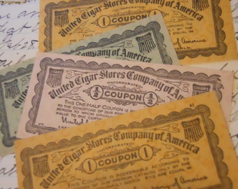 6 Antique 1920s-1930s Cigar Coupons