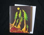 Moonlit Firs Art Card from Original Painting by Jodi Mayne