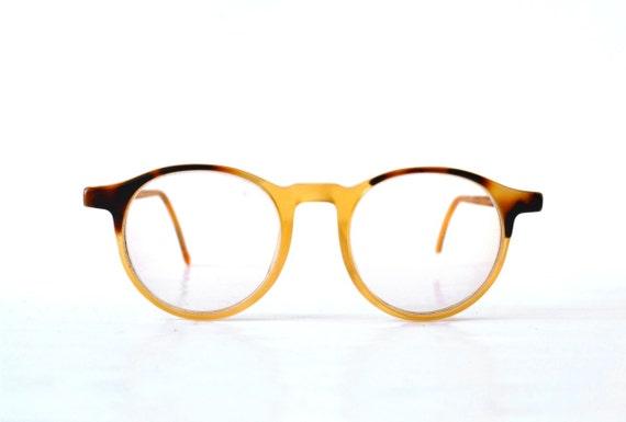 Vintage Armani glasses sun horn rimmed tortoise havana rounded round 90s womens spectacles statement frame eyewear