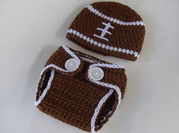 Crochet Football Hat And Diaper Cover Baby Boy Hat Diaper Cover,Infant Outfit, Newborn Boy Photo Prop Coming Home Outfit   Made To Order