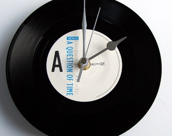 "DEPECHE MODE Record Clock ""A Question of Time"". Made from a recycled 7"" vinyl record. Made by Abbazappa Northern Ireland UK"