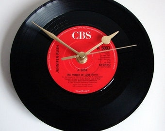 """Jennifer Rush CLOCK. """"The Power of Love"""" Recycled Vinyl Record 1980s single. Romantic gift for 1980s music fans black and red hearts wedding"""