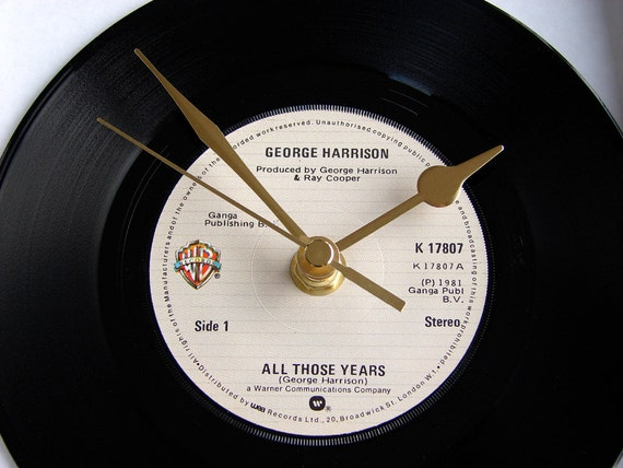 """George Harrison Vinyl Record CLOCK from original recycled 7"""" record. """"All Those Years"""". Great Wedding Anniversary or Birthday present..."""