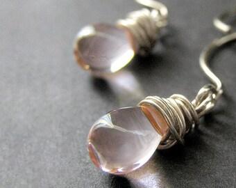 Wire Wrapped Earrings: Pale Pink Clear Teardrop Earrings in Silver. Handmade Jewelry.