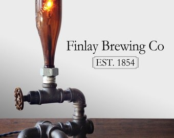 Industrial Brewery Lamp - Bottle Lighting - Steampunk Fixture - Faucet Switch - Table Lamp Furniture