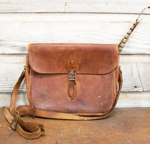 Vintage Leather Bag -- Surveyor's Satchel