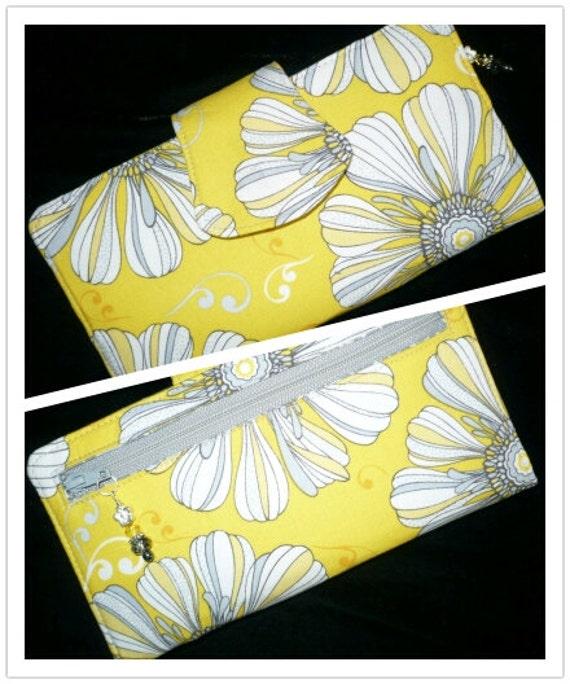 Womens Wallet, Yellow/Gray Floral, 2 Zippered BiFold Organizer, handmade