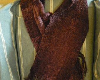 Handwoven eggplant boucle scarf