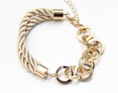 Arm candy - Half and Half: Gold chunky chain and Beige silk Bracelet