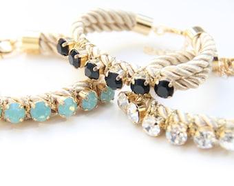 Love Rocks rhinestone Friendship Bracelet - Knit bracelet with rhinestones, cord bracelet, rhinestone bracelet, arm candy