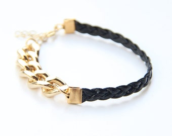 ON SALE! Arm Candy - Gold chunky chain with Black leather braid Bracelet - 24k gold plated