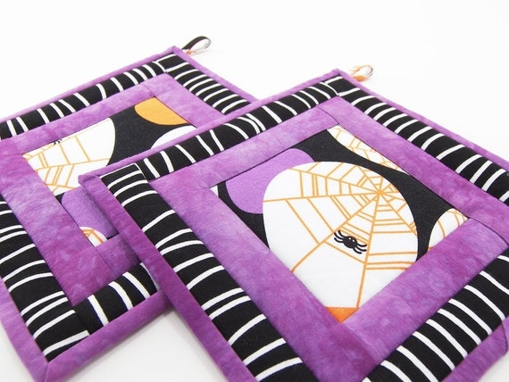 Halloween Hot Pads, Spider Pot Holders in Black, White, Purple and Orange, Quilted Potholders